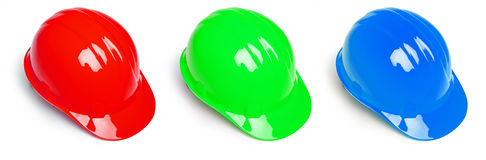 Red Green and Blue Hardhat Stock Photo