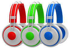 Red, green and blue headphones Stock Photography