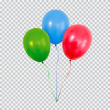 Red green and blue helium balloons set isolated on transparent background. Royalty Free Stock Images