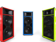 Red, green and blue hifi speakers Stock Photos