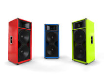 Red, green and blue hifi speakers. Studio shot Stock Photography
