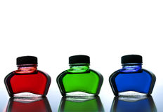 Red green and blue ink Stock Images