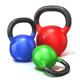 Red, green and blue kettle bells weights Royalty Free Stock Photography