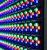 Red, green, blue of LED diod on panel. Screen Royalty Free Stock Photography