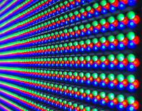 Red, green, blue of LED diod on panel. Screen, selective focus Stock Images