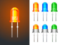 Red, green and blue leds - glass and metallic Royalty Free Stock Images