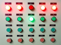 Red, green and blue light led on electric Control Panel showing on/off status. Royalty Free Stock Photography