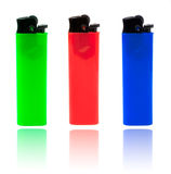 Red, green and blue lighters Stock Photos