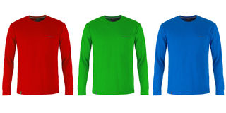 Red, green and blue long sleeve t-shirts. Isolated on white background stock photography