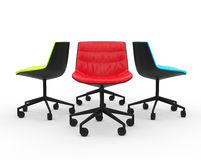 Red, green and blue modern office chairs Stock Images