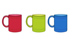 Red, green, blue  mugs Stock Photography
