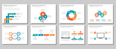 Red green blue orange multipurpose infographic presentation and element flat design set 2 Royalty Free Stock Photo