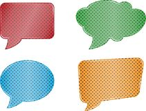 Red green blue orange speech bubble set web icons on white backg. Colorfull speech bubble set on white background Stock Photos