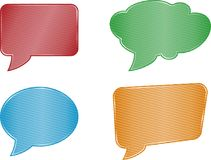 Red green blue orange and stripes speech bubble set web icons on. Colorfull speech bubble set on white background Stock Photo
