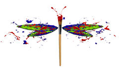 Red green blue paint splash made dragonfly Royalty Free Stock Photos