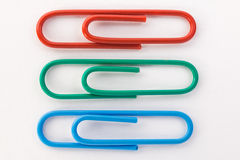 Red green and blue paper clips macro Royalty Free Stock Photo