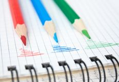 Red, green, and blue pencil. On the notepad royalty free stock image