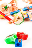 Red, green and blue pencil sharpener. Royalty Free Stock Photos