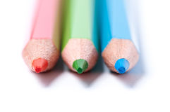 Red, green, blue pencils. Close up. Royalty Free Stock Image