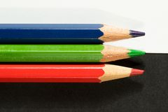 Red green and blue pencils, rgb concept Royalty Free Stock Photography