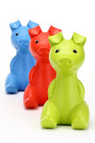 Red, Green , Blue piggy banks Royalty Free Stock Photos