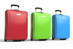 Red, green and blue polycarbonate travel baggage suitcases Stock Photos