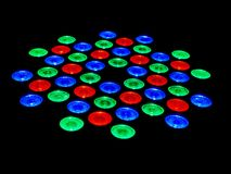 Red Green and Blue LED Lamps on Black Background. Red Green and Blue RGB LED Lamps on Black Background Stock Images
