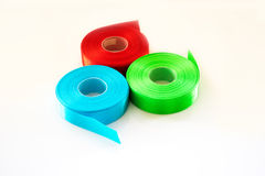 Red Green Blue ribbon Roll isolated stock photo