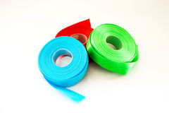 Red Green Blue ribbon Roll isolated royalty free stock images