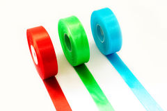 Red Green Blue ribbon Roll isolated royalty free stock photos