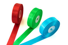 Red Green Blue ribbon Roll isolated royalty free stock photo