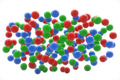 Red green and blue spheres in the sky Stock Image