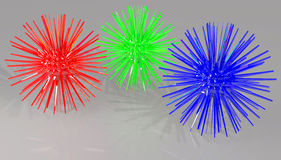RED GREEN AND BLUE SPIKE BALLS. BALLS WITH SPIKES. RGB COLORED BALLS vector illustration