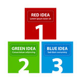 Red, green and blue square banners, arranged in a pyramid.  royalty free illustration