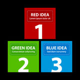 Red, green and blue square banners, arranged in a pyramid.  vector illustration
