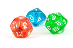 Red, Green, and Blue Translucent Dice on White Royalty Free Stock Image
