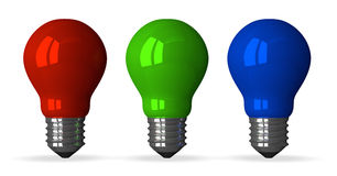 Red, green and blue tungsten light bulbs, front view Royalty Free Stock Image