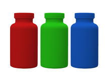 Red Green and Blue Vitamin Bottles Royalty Free Stock Photo