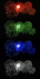 Red, green, blue, white Fireworks royalty free stock photo