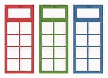 Red green and blue windows Royalty Free Stock Image