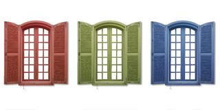 Red green blue windows Stock Photo