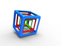 Red green and blue wire cubes Royalty Free Stock Image