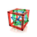 Red, green and blue wire-frame glass cubes Royalty Free Stock Image