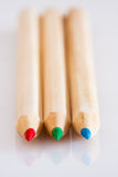 Red Green Blue wood pencils Stock Images