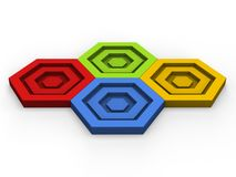 Red, green, blue and yellow hexagon puzzle pieces - fit together. Red, green, blue and yellow hexagon puzzle pieces fitting together Stock Photography
