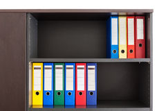 Red, green, blue and yellow office folders Royalty Free Stock Image