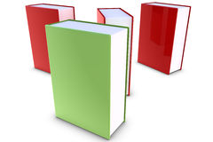 Red and green books. 3D Books on white background Stock Images