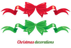 Red and green bows with long ribbons Stock Image