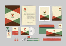 Red, green and brown with triangle corporate identity template for your business Royalty Free Stock Photo
