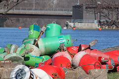 Red and Green Buoy. Along river Royalty Free Stock Photography